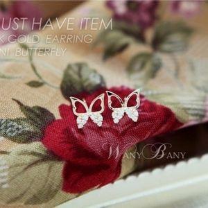 Jewelry - 14K Gold Mini Butterfly Crystal Dainty Studs
